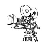 Illustration vector doodle hand drawn of movie projector Royalty Free Stock Images