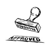 Illustration vector doodle hand drawn of sketch Approved Stamp w Royalty Free Stock Image