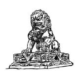 Illustration vector doodle hand drawn of sketch big bronze lion. In forbidden city, China, isolated on white Royalty Free Stock Images