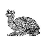 Illustration vector doodle hand drawn of sketch bronze statue of a turtle in forbidden city Royalty Free Stock Photo