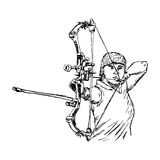 Illustration vector doodle hand drawn sketch of female sport archer Stock Image
