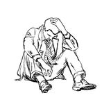 Illustration vector doodle hand drawn of sketch frustrated businessman sit on ground isolated. Illustration vector doodle hand drawn of sketch frustrated royalty free illustration
