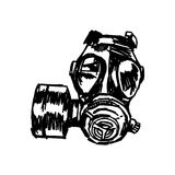 Illustration vector doodle hand drawn of sketch Gas mask. Stock Image