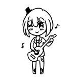 Illustration vector doodle hand drawn sketch of girl Stock Photography