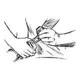 Illustration vector doodle hand drawn of sketch hand fastening s Royalty Free Stock Image