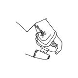 Illustration vector doodle hand drawn of sketch hand fastening s Stock Photo