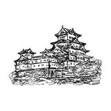 Illustration vector doodle hand drawn of sketch Himeji jo castle Royalty Free Stock Images
