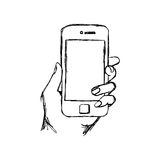 Illustration vector doodle hand drawn sketch of human hand using. Or holding smart mobile phone Stock Images