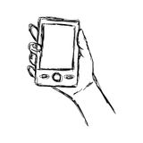 Illustration vector doodle hand drawn sketch of human hand using. Or holding smart mobile phone Stock Image