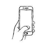 Illustration vector doodle hand drawn sketch. Of human hand using or holding smart mobile phone Stock Photography