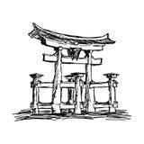 Illustration vector doodle hand drawn of sketch itsukushima shrine. Landmark in Japan, isolated on white Stock Image