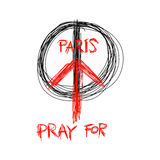 Illustration vector doodle hand drawn of sketch Pray for Paris, Stock Image