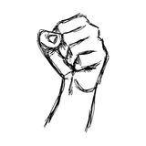 Illustration vector doodle hand drawn of sketch raised fist Royalty Free Stock Photo
