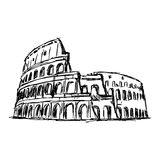 Illustration vector doodle hand drawn of sketch the Roman Colosseum Stock Photography