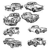 Illustration vector doodle hand drawn of sketch set old car Stock Images