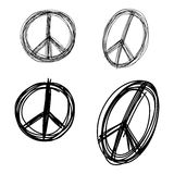 Illustration vector doodle hand drawn of sketch set peace sign s Stock Photography