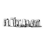 Illustration vector doodle hand drawn of sketch stonehenge isola. Ted on white background Royalty Free Stock Photography