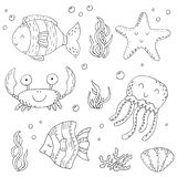 Illustration Vector doodle set of elements of marine life. Underwater World collection. Icons and symbols hand drawing sketch royalty free stock photography