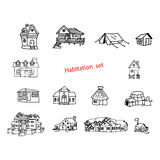 Illustration vector doodles hand drawn of habitation or resident.  Stock Photography