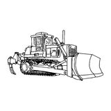 Illustration vector doodles hand drawn loader bulldozer excavato Stock Images