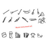 Illustration vector doodles hand drawn music instrument set. Royalty Free Stock Image