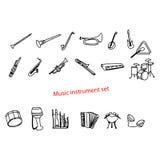 Illustration vector doodles hand drawn music instrument set. Royalty Free Stock Image