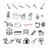 Illustration vector doodles hand drawn objects in backyard garde Stock Images