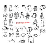 Illustration vector doodles hand drawn objects in dressing room. Royalty Free Stock Photography