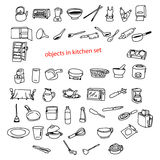 Illustration vector doodles hand drawn objects in kitchen. Royalty Free Stock Images