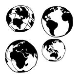 Illustration vector doodles hand drawn planet earth set. Royalty Free Stock Photos