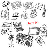 Illustration vector doodles hand drawn set of retro-styled objec Stock Photo
