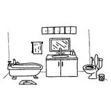 Illustration vector doodles hand drawn toilet with object relate. D Royalty Free Stock Photography