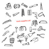 Illustration vector doodles hand drawn tools supplies set. Stock Image
