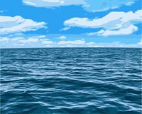 Oceanic Sky View. Illustration - Vector drawing of an oceanic sea view landscape vector illustration