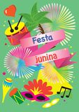 Illustration vector flat cartoon isolated of elements decoration food,drink,desert of Festa Junina or June festival is tradition f. Banner Illustration vector Royalty Free Stock Photo