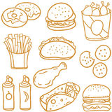 Illustration vector of food various doodles Royalty Free Stock Image