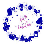 Illustration, vector frame, blue silhouette on a white background. Set of winter elements and festive Christmas Royalty Free Stock Image