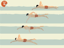 Illustration vector of free style swimming, swimming design Stock Images