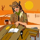 Girl in a cowboy hat sits on his ranch reading a book. Illustration vector. Girl in cowboy hat sitting at a table on his ranch reading a book on the table a Cup Stock Photography