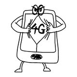 Illustration vector hand draw doodles of cartoon mobile phone wi. Th 4G on the screen royalty free illustration