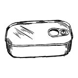 Illustration vector hand draw doodles of closed rectangular can Royalty Free Stock Photo