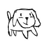 Illustration vector hand draw doodles of cute dog smiling  Stock Photography