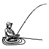 Illustration vector hand draw doodles of fisherman with hook  Royalty Free Stock Images