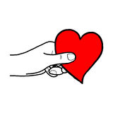 Illustration vector hand draw doodles of hand holding red heart Royalty Free Stock Photos