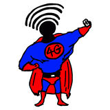 Illustration vector hand draw doodles of superhero with 4G on hi. S chest and wifi signal on his head Stock Images