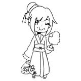 Illustration vector hand drawn doodle of girl wearing traditiona Stock Photos