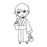 illustration vector hand drawn doodle of girl wearing traditional japanese clothing and eating candy. royalty free illustration