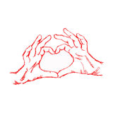 Illustration vector hand drawn doodle hand forming a heart shape. With red pen Stock Photos