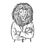 Illustration vector hand drawn doodle lion in business suit with Stock Photo