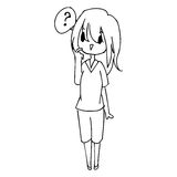Illustration vector hand drawn doodle of  little confused girl w Stock Photography